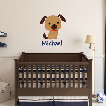 Personalized Puppy Wall Decal - Name Wall Decal - Nursery Vinyl Wall Decal - Dog Vinyl Wall Decal - Kids Room Decor - Boys Room Decor 22547