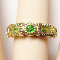 Vintage 14K Peridot Chrome Diopside Ring Size 6