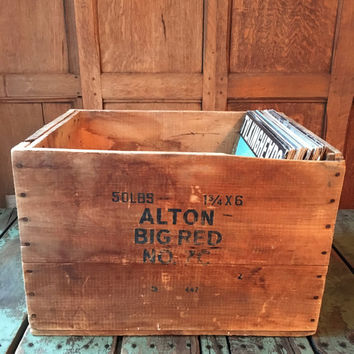 Vintage Wood Crate, Equitable Powder Mfg Co Wood Box, Early Winchester Crate, Dynamite Box, Record Crate