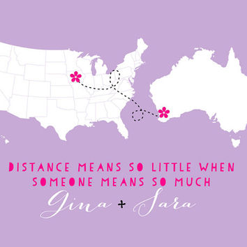 Custom Best Friend Gift, Long Distance Friends Map - 8x10 Personalized Art Print, Best Friends Forever, BFF, Foreign Exchange Student