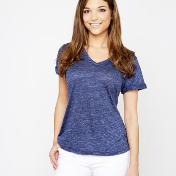Linen Nauset Tee - Heather Navy