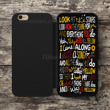 coldplay yellow lyrics Wallet Case For iPhone 6S Plus 5S SE 5C 4S case, Samsung Galaxy S3 S4 S5 S6 Edge S7 Edge Note 3 4 5 Cases