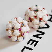 Flower Pearl Ball Rhinestone Earrings