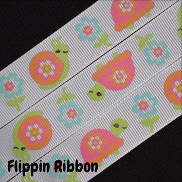 Turtles and Snails Ribbon, 3 Yards, 7/8 inch Grosgrain