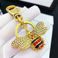 GUCCI Newest Fashion Delicate Cute Bee Pearl Crystal Car Key Chain And Key Holder