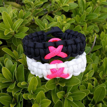 Breast Cancer Awareness Pink Ribbon Paracord 550 Survival Bracelet Custom Made