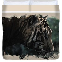 Watercolor Portrait Of Bengal Tiger - Duvet Cover