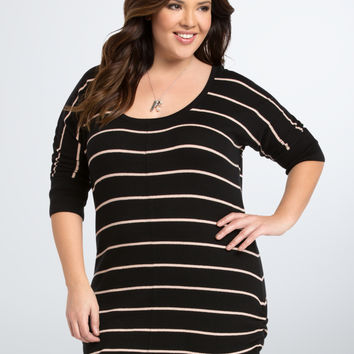 Striped Side Cinch Tunic Top