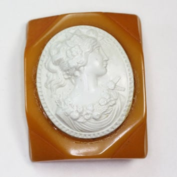 Bakelite and Celluloid Cameo Brooch Vintage