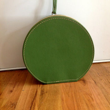 Vintage Travins Hat Box Train Case Green with Blue Lining
