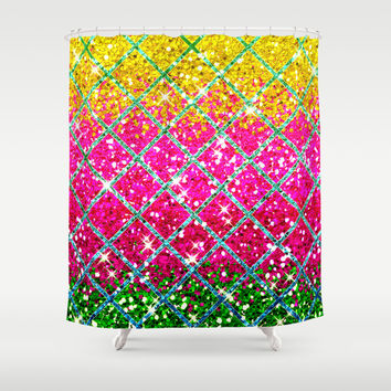 Glitter Pink Snakeskin Shower Curtain by Tees2go | Society6