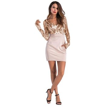 New Spot Women's casual dress Deep V collar Long sleeves Sequined dress pocket Package hip Sexy dress  Bodycon dresses A2040