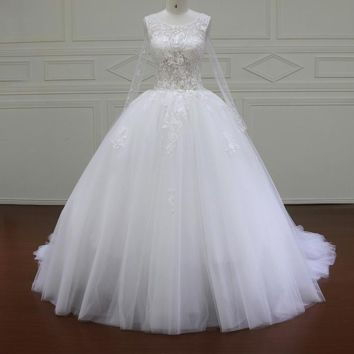 Long Sleeve Wedding dress Lace Pearls beading Ball Gown white ivory wedding gowns