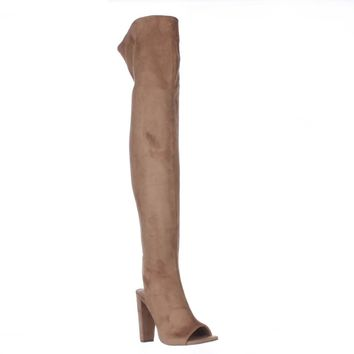 Steve Madden Kimmi Over-The-Knee Open Heel Boots, Camel, 8 US