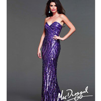 (PRE-ORDER) Mac Duggal 2014 Prom Dresses - Purple Sequin Strapless Sweetheart Prom Gown