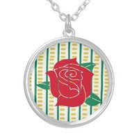 Red Rose, Lines & Dashes Necklace