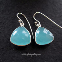 Ocean blue stone earrings,2013 fall fashion trend,bezel stone,nautical,Tiffany,Bridesmaids,earrings,gift,Beach wedding,aqua color stone