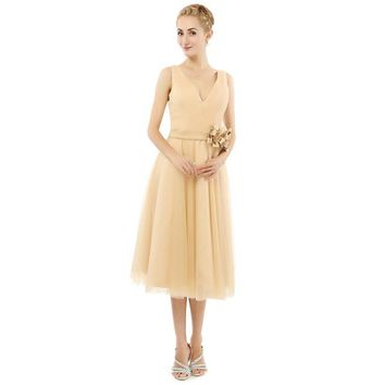 Long Evening Dress Champagne Chiffon Tea Length Evening Dress Women Special Occasion Party Dress