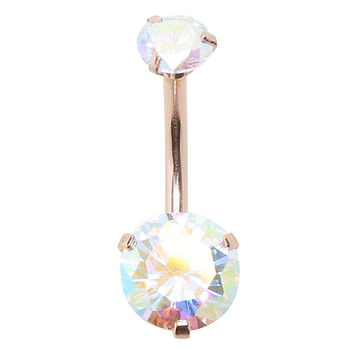 14G Gold Faceted Rainbow AB Gems Navel Barbell