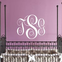"Children Wall Decal - Nursery Wall Decal Monogram Vinyl - Vinyl Lettering, Vinyl Wall art 22""H x 26""W"