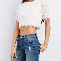 CORDED EYELASH LACE CROP TOP
