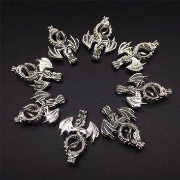 DCCKU62 8pcs Bright Silver Creative Flying Dragon Jewelry Making Supplies Alloy Beads Cage Pendant Essential Oil Diffuser Trendy Locket