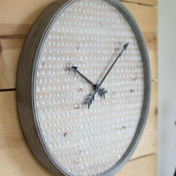Round Wooden With Metal Frame Wall Clock
