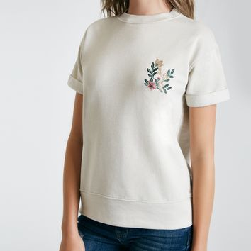 Floral Embroidered Fleece Pullover | Wet Seal