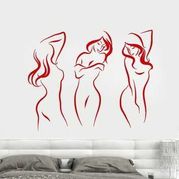 Vinyl Wall Decal Beautiful Sexy Naked Girls Decor For Adults Stickers Unique Gift (1685ig)