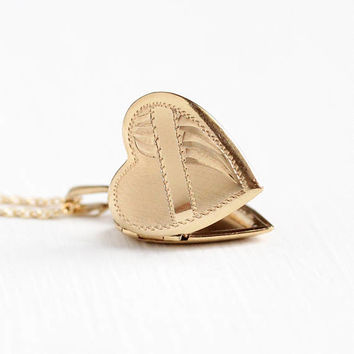 Vintage 12k Rosy Yellow Gold Filled Heart Locket Necklace - 1940s Dainty Petite Sweetheart Small Pendant Charm Signed Bojar Jewelry