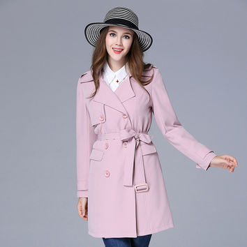 OCHANAL Autumn Lady Pink Double Breasted Tie Waist Trench Coat Plus Size Women Clothing xl-5xl