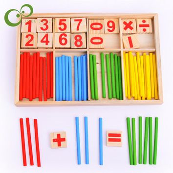 1PC Free Shipping Montessori Wooden Number Math Game Sticks Educational Toy Puzzle Teaching Aids Set Materials