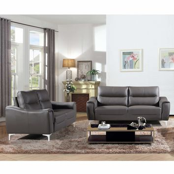 Rachel Collection 2 Piece  Modern Leather and Fabric Upholstered Stationary Living Room Sofa and Loveseat , Gray