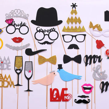 30 piece Wedding Photo Booth Props. FELT and GLITTER photo booth props. Bachelorette, Bridal Shower Party photo booth props