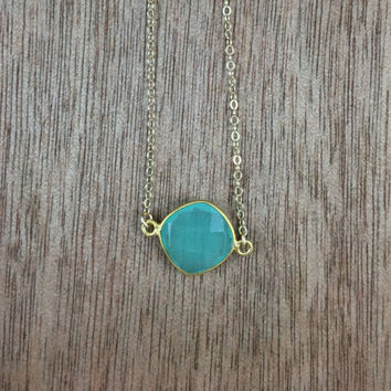 14k gold filled necklace with a 24k gold vermeil aqua chalcedony bezel connector / bridesmaid / dainty / minimalist / May birthstone