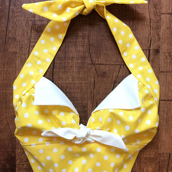 Handmade Vintage Style 1950s Rockabilly Mid Century Retro Pin Up Halter Top Yellow White Polka Dot XS Small Medium Large