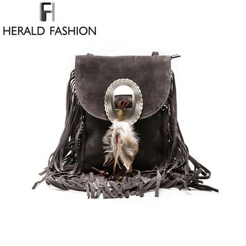 Women Pu Leather Bag Female Fashion Shoulder Bags Famous Crossbody Bags Fringe Tassel Women Messenger Bags