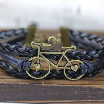 Retro bicycle bracelet, material can be copper or silver, multiple colors to choose from,Christmas gift