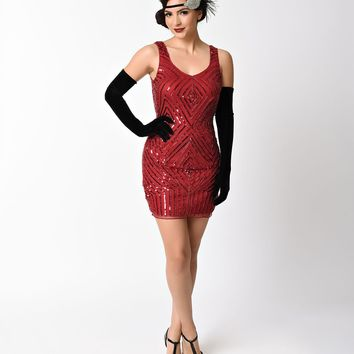 Vintage 1920s Style Burgundy Red Sequin & Beaded Sleeveless Flapper Dress