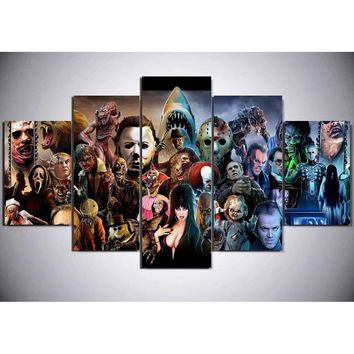 "LARGE 60""x32"" 5 Panelsl Split Canvas Print, Dark Art Horror Movie Series Canvas Art, Lowbrow Pop Art Digital Art, Print on Canva"