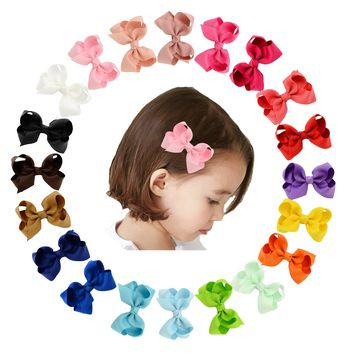 20 Pcs/Lot Grosgrain Hair Bow with Alligator Clips for Baby Girl Toddlers Kids Infant Children Handmade Barrettes Hair Accessories