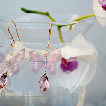 Butterfly  Earrings, Bridal earrings, summer bride, pink earrings, silk butterfly, pink accessories, rosegold earrings