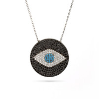 Evil Eye Black Pave Necklace Silver 925
