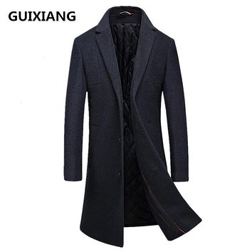 2017 winter new style Men's casual thicken woolen trench coat Men business coats Men's Wool overcoat men jackets FY016