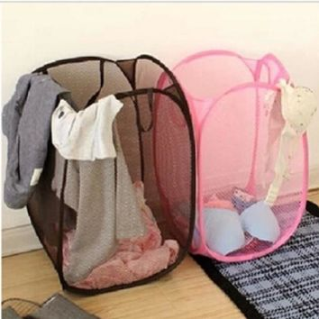 2016 Big Size Fashion Candy Colors Mesh Fabric nylon Foldable Pop Up Dirty Clothes Basket Bag Bin Hamper Storage for Home [7939568519]