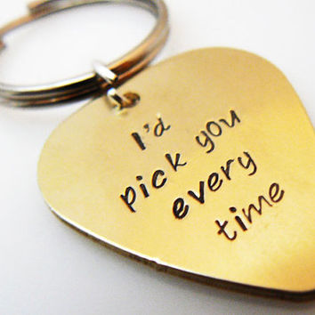 Hand Stamped Guitar Pick Keychain, Key chain boyfriend, husband, friend gift,  Key Ring, Personalized BFF, Brass or Aluminum