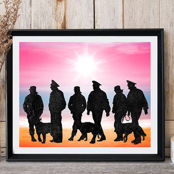 Printable art, Police, Police officers, Policewomen, Print art, Dog print, Police office wall decor, Modern art, Greeting card, Dog wall art