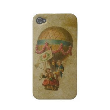 Vintage Hot Air Balloon Grunge Background Case-mate Iphone 4 Cases from Zazzle.com