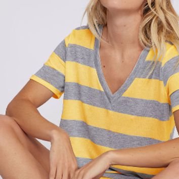Fantastic Fawn Grey & Yellow Striped Tee