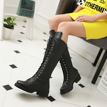 New women motorcycle boots lace up knee high boots for women antumn platform shoes chunky heel leather black army boots female